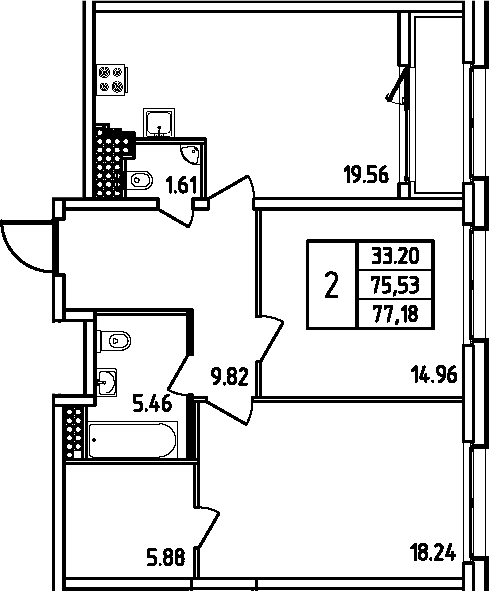 3Е-комнатная, 77.18 м²– 2