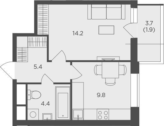 1-к.кв, 35.7 м², 23 этаж