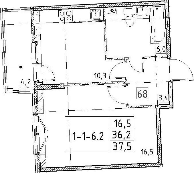 1-к.кв, 37.5 м², 2 этаж