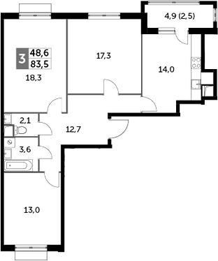 3-к.кв, 83.5 м², 2 этаж