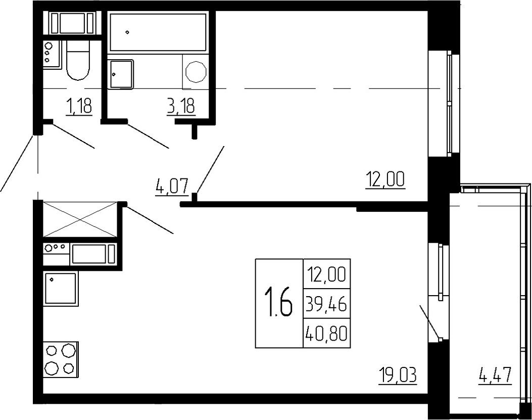 2Е-к.кв, 39.46 м², 3 этаж