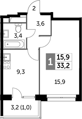 1-к.кв, 33.2 м²