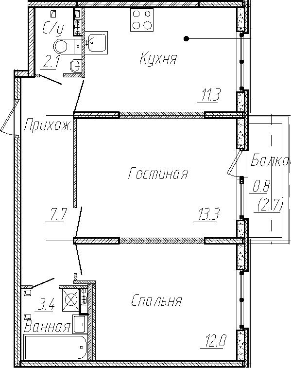 2-комнатная квартира, 49.8 м², 1 этаж – Планировка