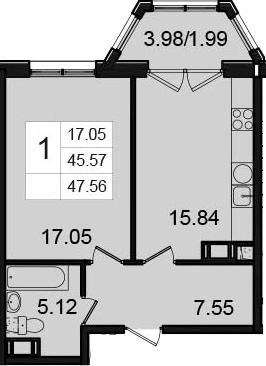1-комнатная, 47.56 м²– 2