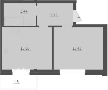 2Е-комнатная, 43.89 м²– 2