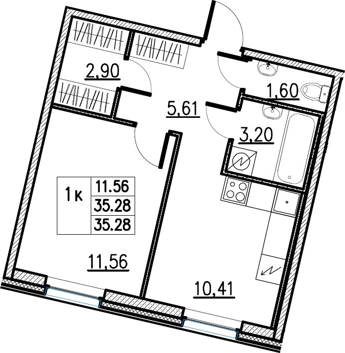1-комнатная, 35.28 м²– 2