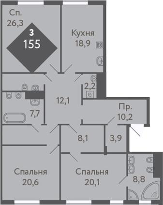 3-к.кв, 155 м²