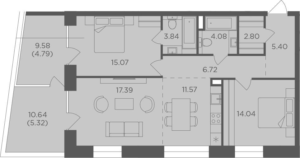 3Е-комнатная, 91.02 м²– 2