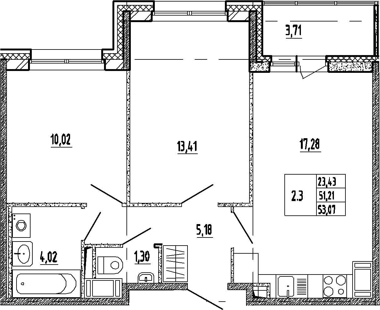 3Е-к.кв, 51.21 м²