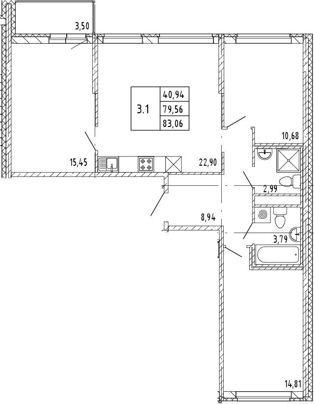 4Е-комнатная, 81.31 м²– 2