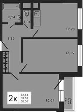 2-к.кв, 61.44 м²
