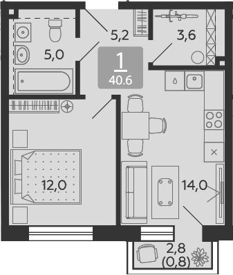 1-к.кв, 40.6 м²