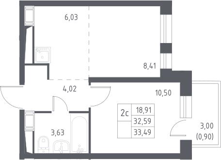 2Е-к.кв, 33.49 м², 13 этаж