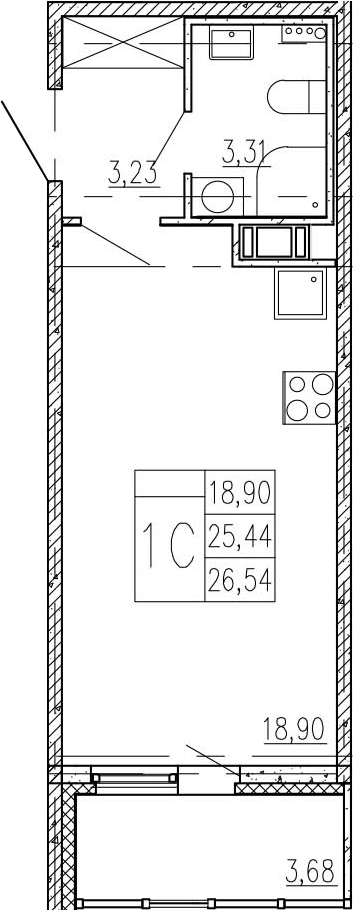 Студия, 29.12 м²