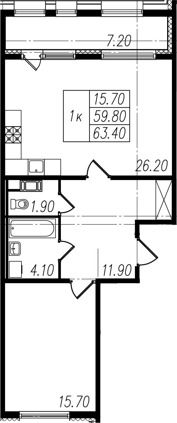 2Е-к.кв, 59.8 м²