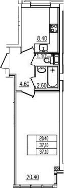 1-комнатная, 37.1 м²– 2