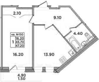 1-к.кв, 50.6 м²