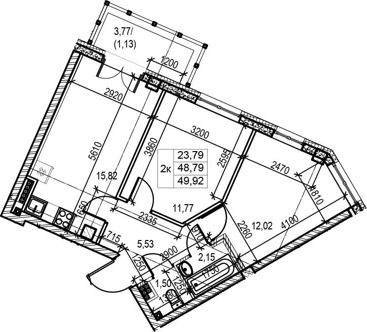 2-к.кв, 49.92 м²
