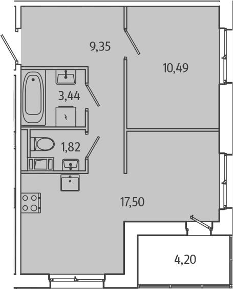 2Е-комнатная, 44.7 м²– 2