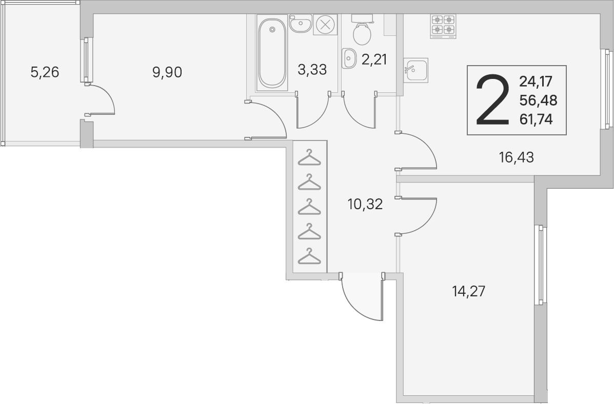 3Е-к.кв, 56.48 м², 1 этаж