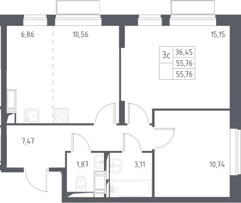 3Е-к.кв, 55.76 м², 20 этаж
