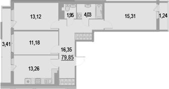 3-к.кв, 84.5 м²
