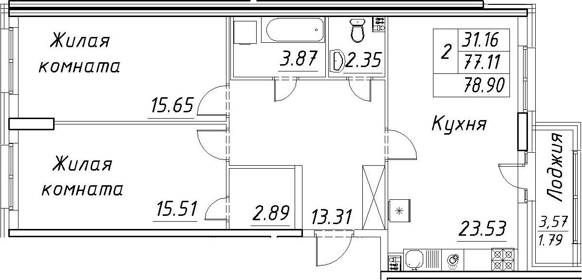 3-к.кв (евро), 80.69 м²