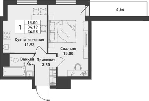 1-комнатная, 34.58 м²– 2