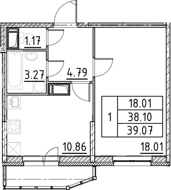 1-комнатная, 39.07 м²– 2