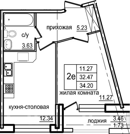 2Е-к.кв, 34.2 м², 2 этаж