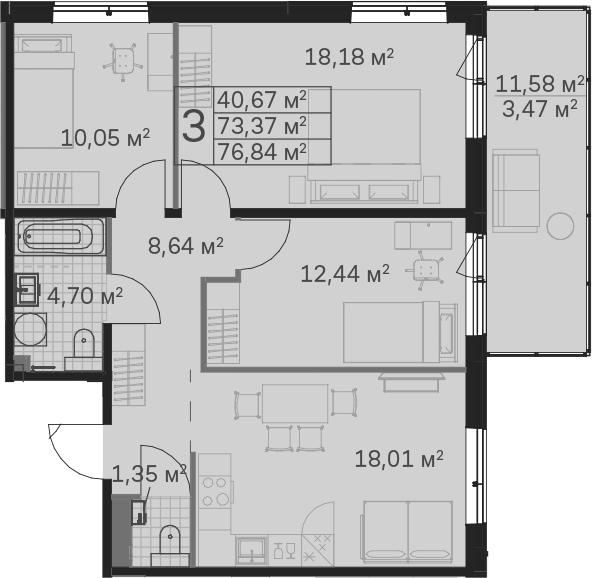 4Е-к.кв, 76.84 м²