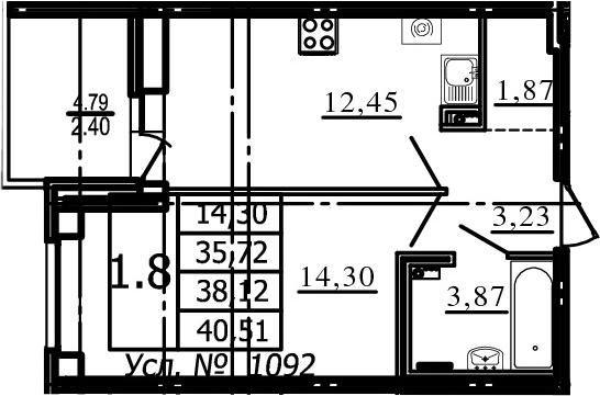 1-комнатная, 35.72 м²– 2
