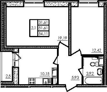 2-к.кв, 51.61 м², от 19 этажа
