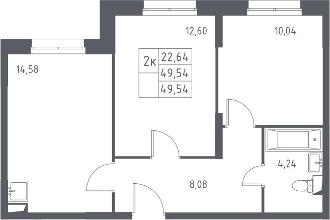 2-к.кв, 49.54 м²