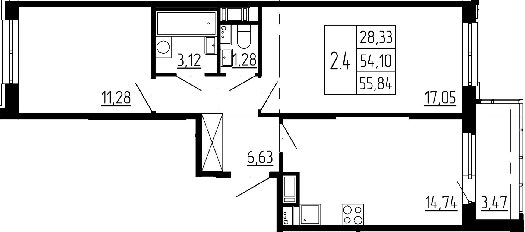 3-к.кв (евро), 57.57 м²