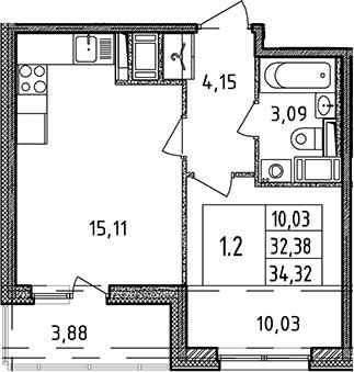 2Е-комнатная квартира, 32.38 м², 10 этаж – Планировка