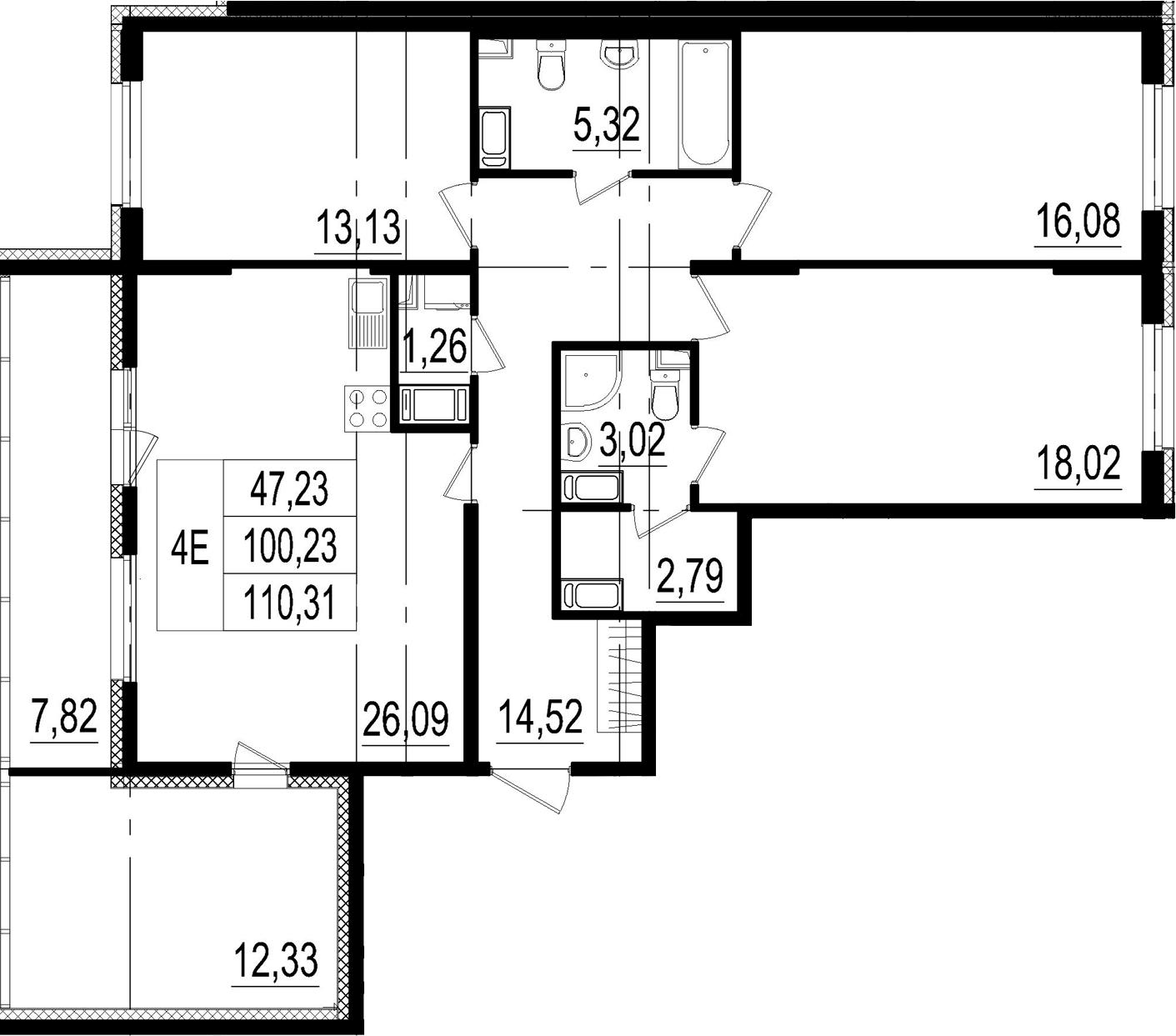 4Е-к.кв, 100.23 м²