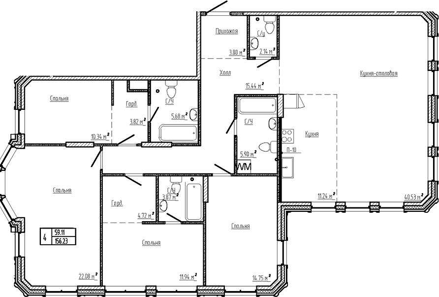 5Е-комнатная, 156.23 м²– 2