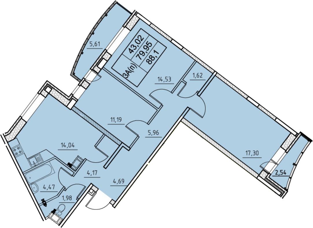 3-к.кв, 88.1 м², 8 этаж