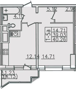 1-комнатная, 40.26 м²– 2