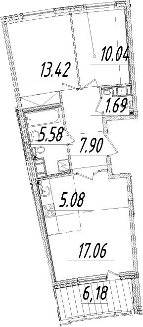 3Е-комнатная, 63.86 м²– 2
