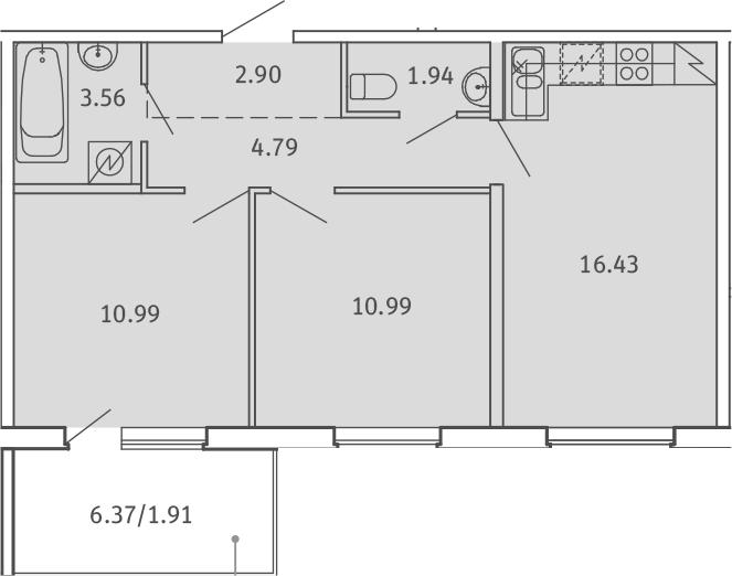 3Е-комнатная, 53.51 м²– 2