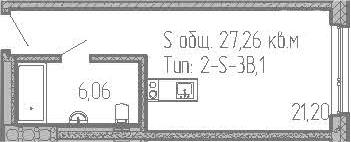 Студия, 27.26 м²– 2