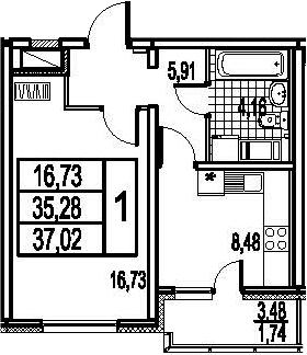 1-к.кв, 38.76 м²