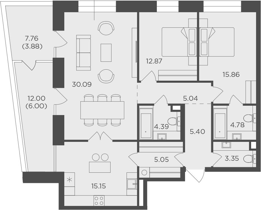3-комнатная квартира, 111.86 м², 11 этаж – Планировка