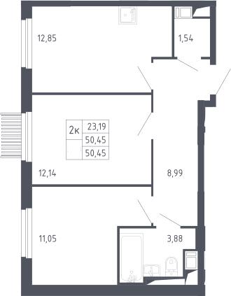 2-к.кв, 50.45 м²