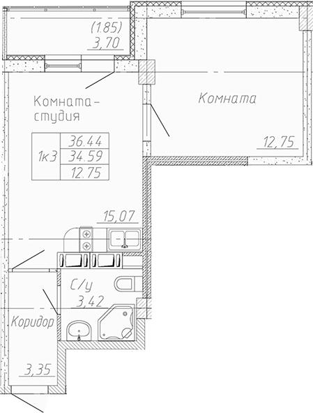 2-к.кв (евро), 38.29 м²
