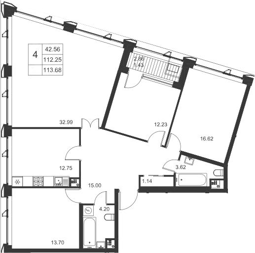 4-к.кв, 115.11 м²