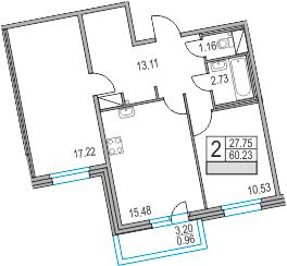 3Е-комнатная, 60.23 м²– 2