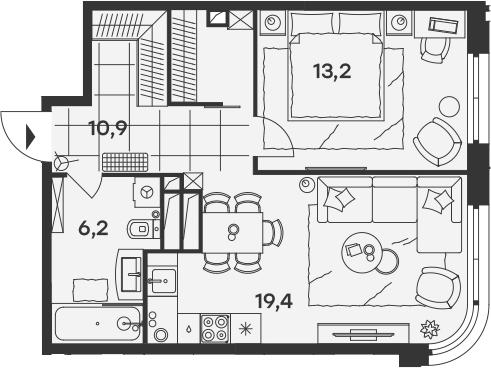 2Е-комнатная, 49.7 м²– 2